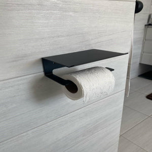 Bayside Luxe - Toilet Roll Holder and Phone Shelf in One - Matt Black and Silver - Baysideluxe