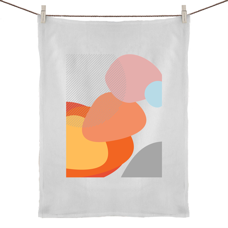 Bayside Luxe - Mid Century Pebbles at the Beach - Cotton Tea Towel - Baysideluxe