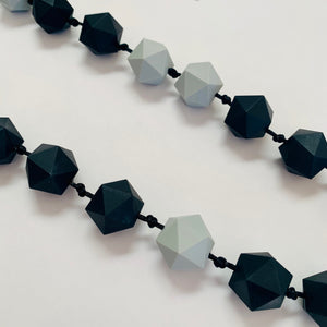 Bayside Jewellery - Black and Grey Geometric Necklace and Bangle Set - Baysideluxe