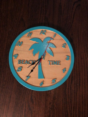 Beach Wall Clock -  Round Wood Carved Clock - Beach Clock | 5g Designs - 5g Designs