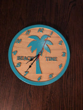 Load image into Gallery viewer, Beach Wall Clock -  Round Wood Carved Clock - Beach Clock | 5g Designs - 5g Designs