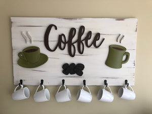 Coffee Sign Wood - Carved 3d Hand Made Sign | 5g Designs - 5g Designs