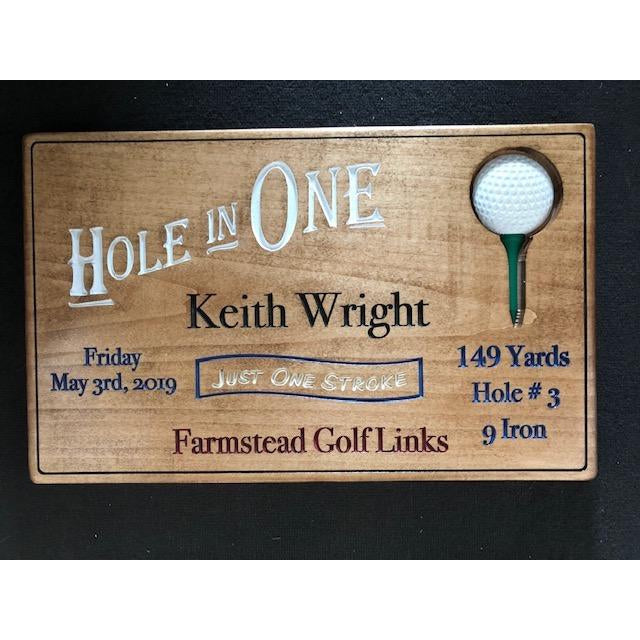 Hole in One Personalized Wood Carving - Golf Gift | 5g Designs - 5g Designs