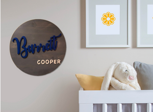 Round Baby Name Sign, Wood Carved Baby Sign | 5g Designs - 5g Designs