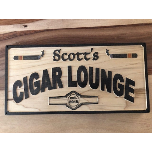 Cigar Lounge Sign -  Cigar Bar Sign - Personalized Cigar Sign | 5g Designs - 5g Designs