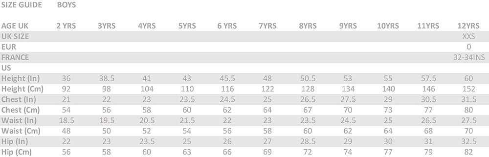 Size Chart For Boys 2 to 12 years