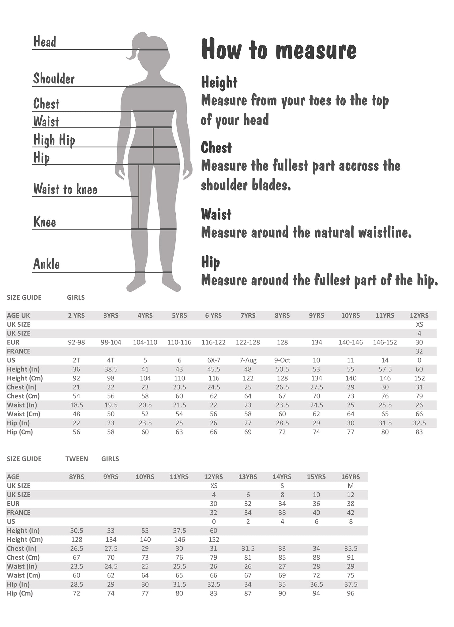 Size Chart for tween girls and younger girls 2 years to 14 years old