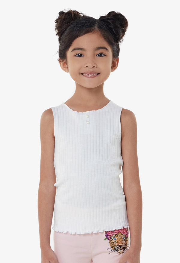 Gen Woo Girls White Ribbed Vest from The Jersey Shop Singapore