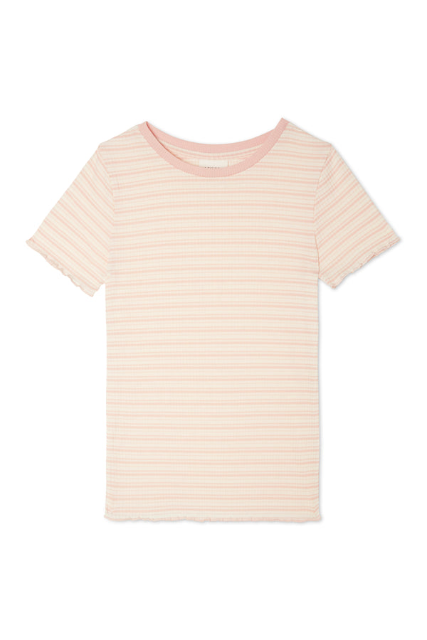 Gen Woo Girls Pink Striped Ribbed T-Shirt from The Jersey Shop Singapore