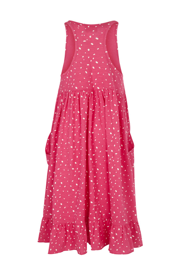 Gen Woo Girls Fuchsia with White Spots Midi Smock Dress from The Jersey Shop Singapore