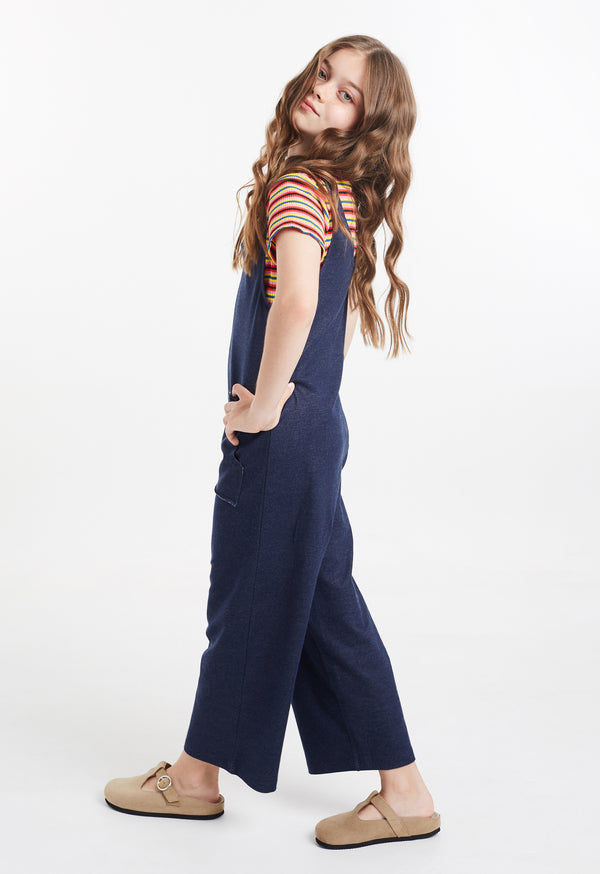 Gen Woo Tween Girls Navy Denim Sleeveless Jumpsuit for The Jersey Shop Singapore