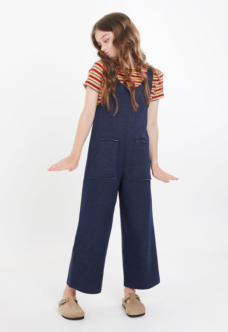 Gen Woo Tween Girls Jumpsuit with Patch Pockets for The Jersey Shop Singapore