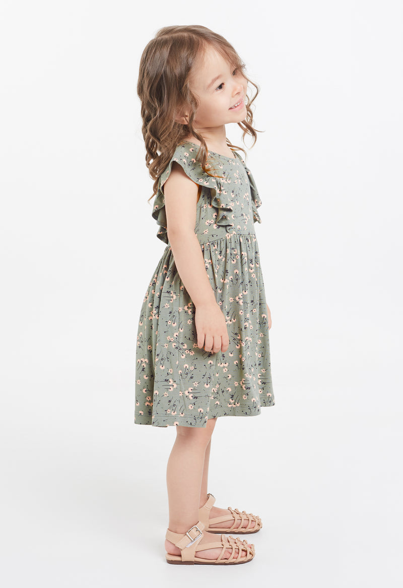 Shop for Gen Woo Green Ditsy Print Flutter Dress from The Jersey Shop Singapore