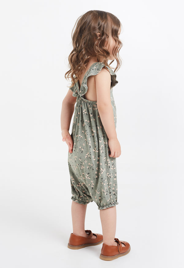 Gen Woo Baby Girl Green Sleeveless Romper with Ruffle Straps for The Jersey Shop Singapore