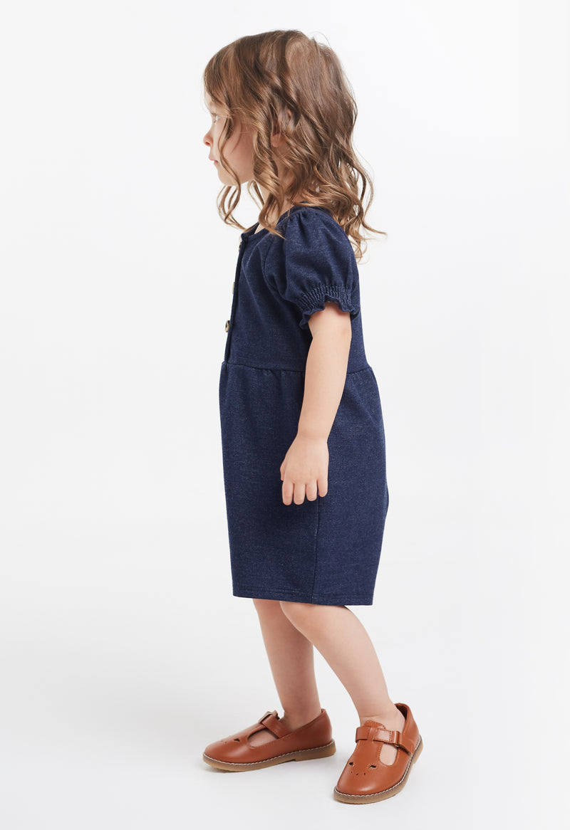 Gen Woo Baby Girl Denim Romper with Puff Sleeves for The Jersey Shop Singapore