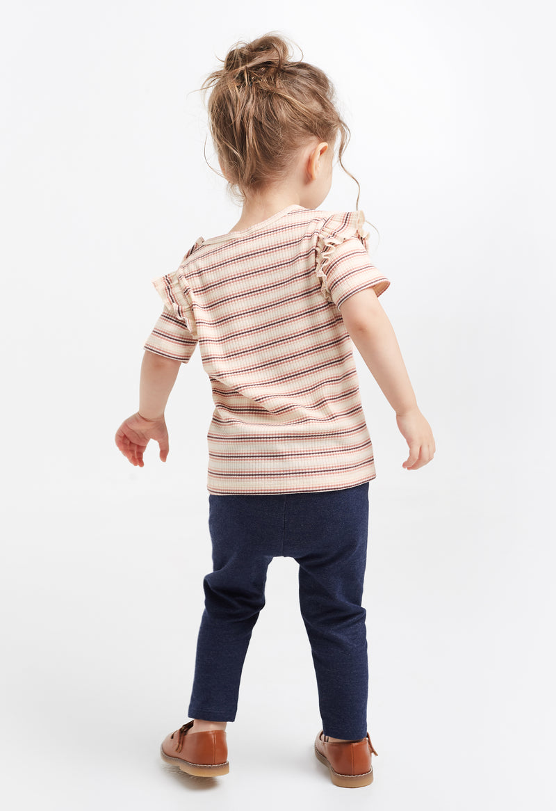 Gen Woo Baby Girl Stripe Ribbed T-shirt for The Jersey Shop Singapore