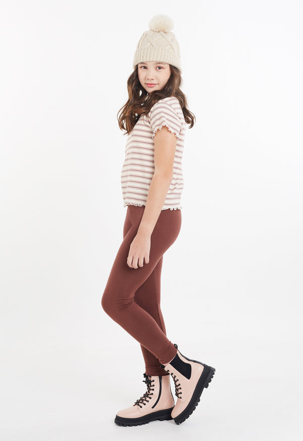 Gen Woo Tween Girls Stripe Ribbed T-shirt from The Jersey Shop Singapore