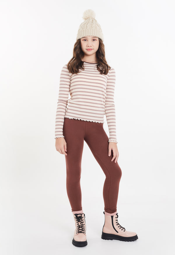 Gen Woo Tween Girls Long Sleeves Striped T-shirt from The Jersey Shop Singapore