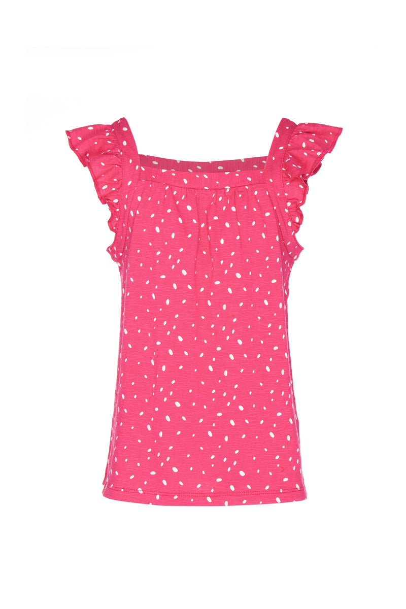 Gen Woo Girls Fuchsia Spot Print Flutter Vest Fits Sizes 2 Years to 8 Years from The Jersey Shop Singapore