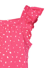 Gen Woo Girls Fuchsia Polka Dot Print Vest with Frills from The Jersey Shop Singapore