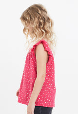 Gen Woo Girls Fuchsia Spot Vest with Flutter Sleeves for The Jersey Shop Singapore