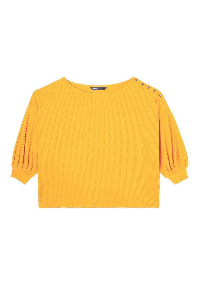 Gen Woo Ladies Yellow Boxy Top with Side Buttons for The Jersey Shop Singapore