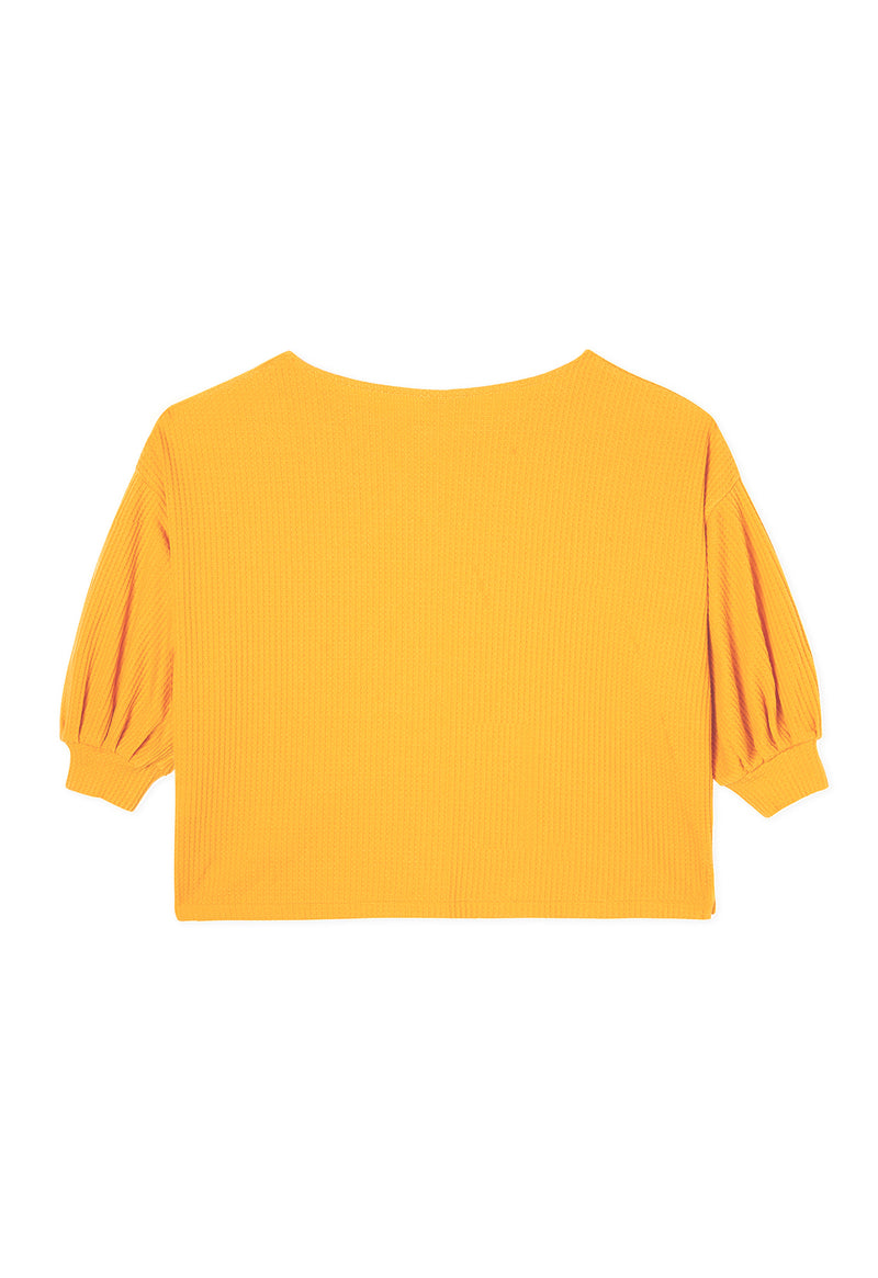 Gen Woo Yellow Waffle Top fits Sizes UK 8 to UK 16 from The Jersey Shop Singapore