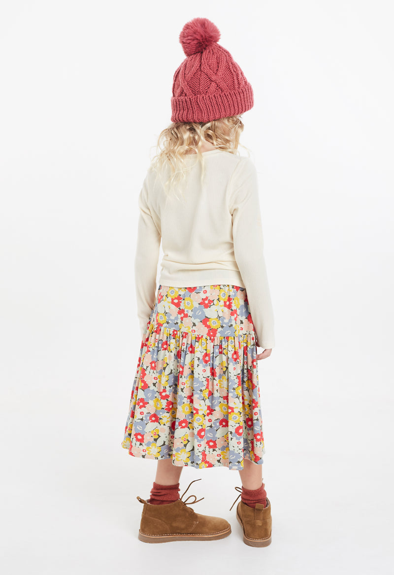 Gen Woo Multi-coloured Floral Print Tiered Skirt for The Jersey Shop Singapore