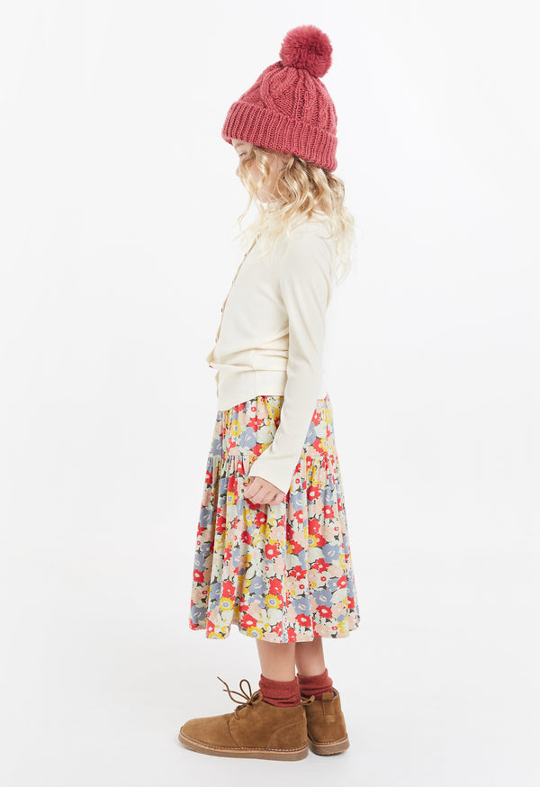 Gen Woo Girls Floral Print A-line Skirt for The Jersey Shop Singapore