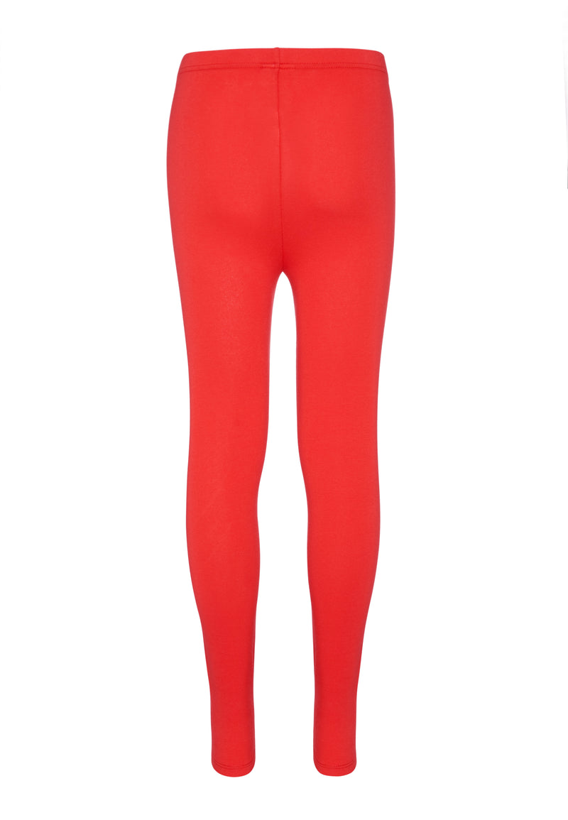 Gen Woo Tween Girls Red Plain Legging Fits Sizes 8 Years to 14 Years for The Jersey Shop Singapore