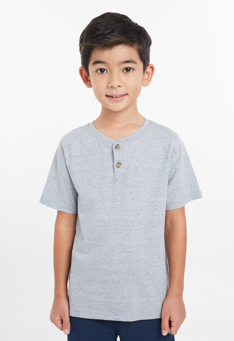 Gen Woo Boys Grey with Navy Slubs T-Shirt with Buttons For The Jersey Shop Singapore