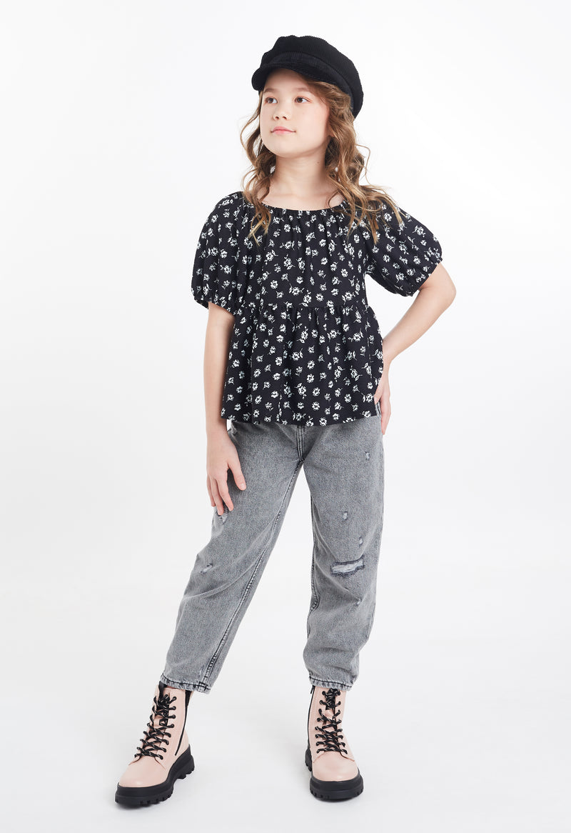 Gen Woo Tween Girls Ditsy Print Smock Top with Bubble Sleeves from The Jersey Shop Singapore