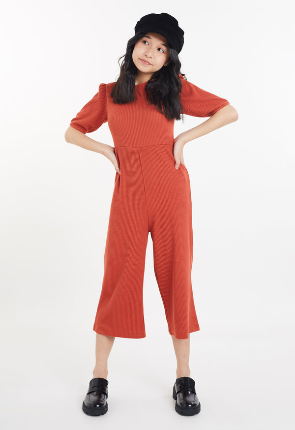 Gen Woo Tween Girls Autumn Waffle Jumpsuit with Puff Sleeves from The Jersey Shop Singapore