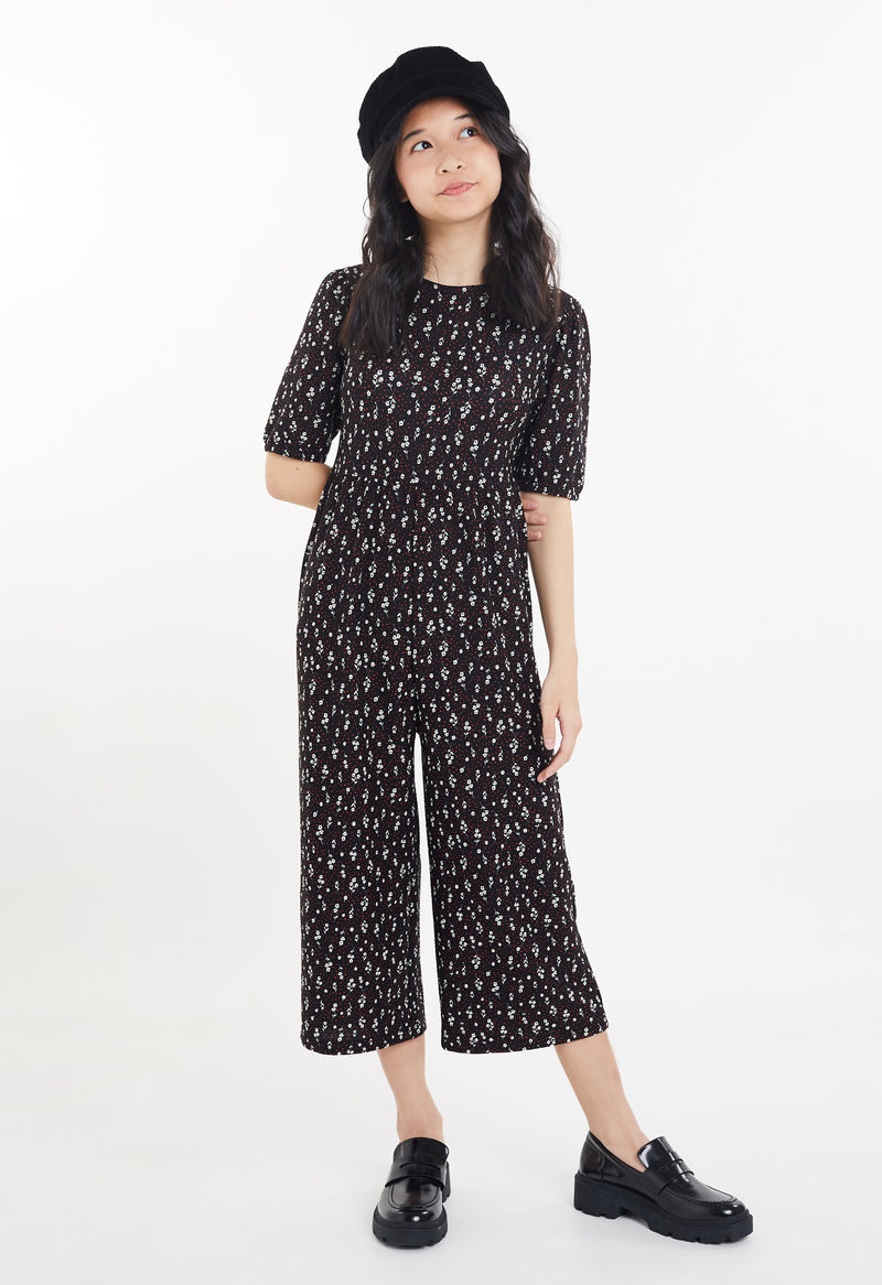 Gen Woo Tween Girls Ditsy Print Jumpsuit with Puff Sleeves from The Jersey Shop Singapore
