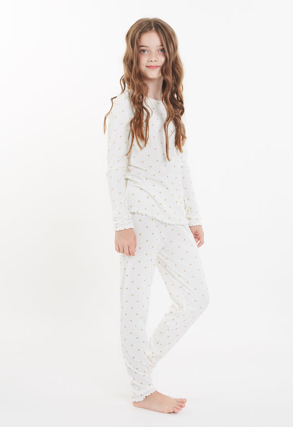 Gen Woo Nightwear Girls Glitter Spots Ribbed Pyjamas Set for The Jersey Shop Singapore