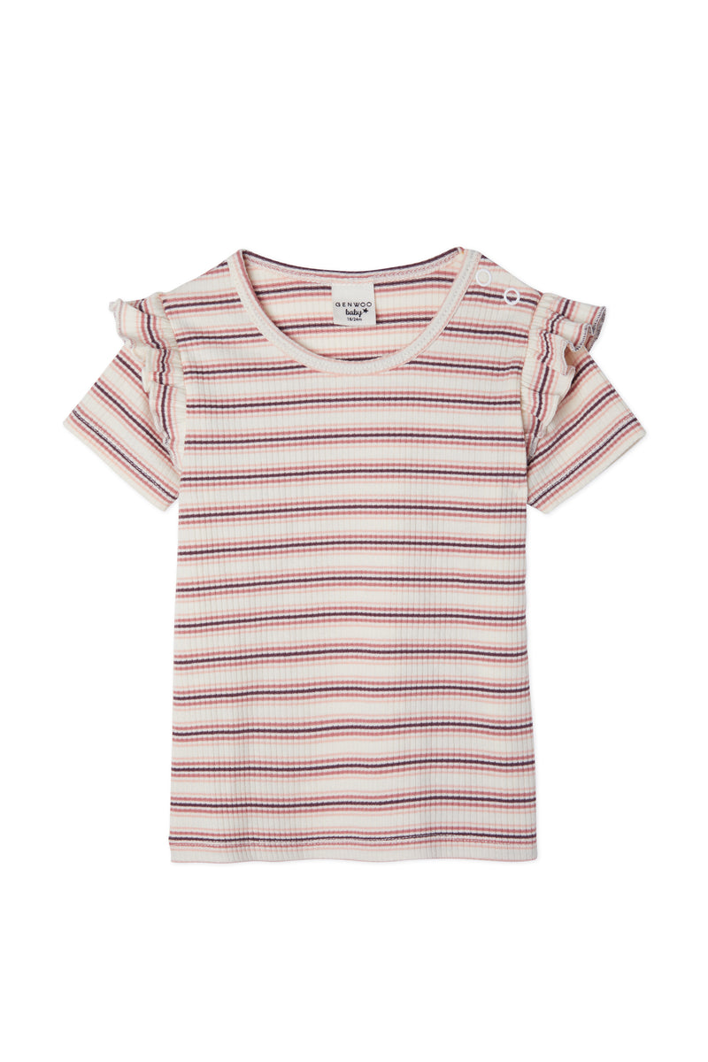 Gen Woo Baby Girl Striped T-shirt with Frills for The Jersey Shop Singapore