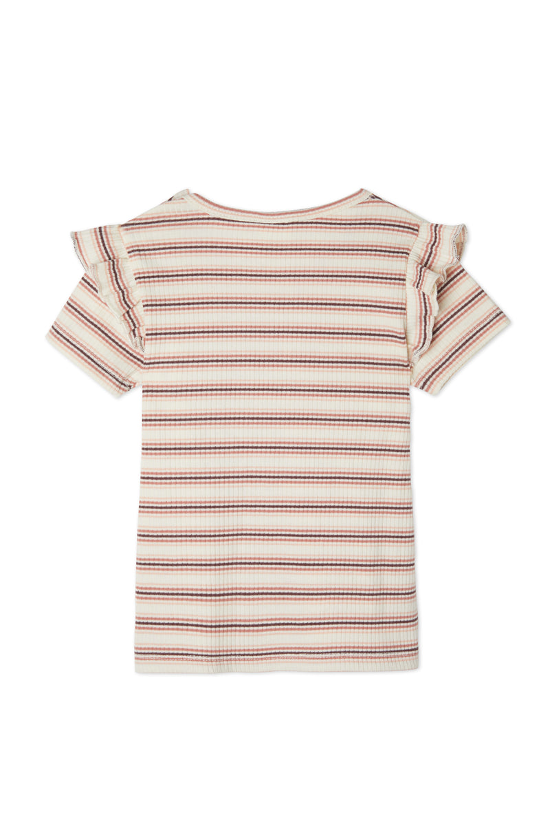 Gen Woo Baby Girl Striped Flutter T-shirt for Sizes 0 Months to 36 Months for The Jersey Shop Singapore