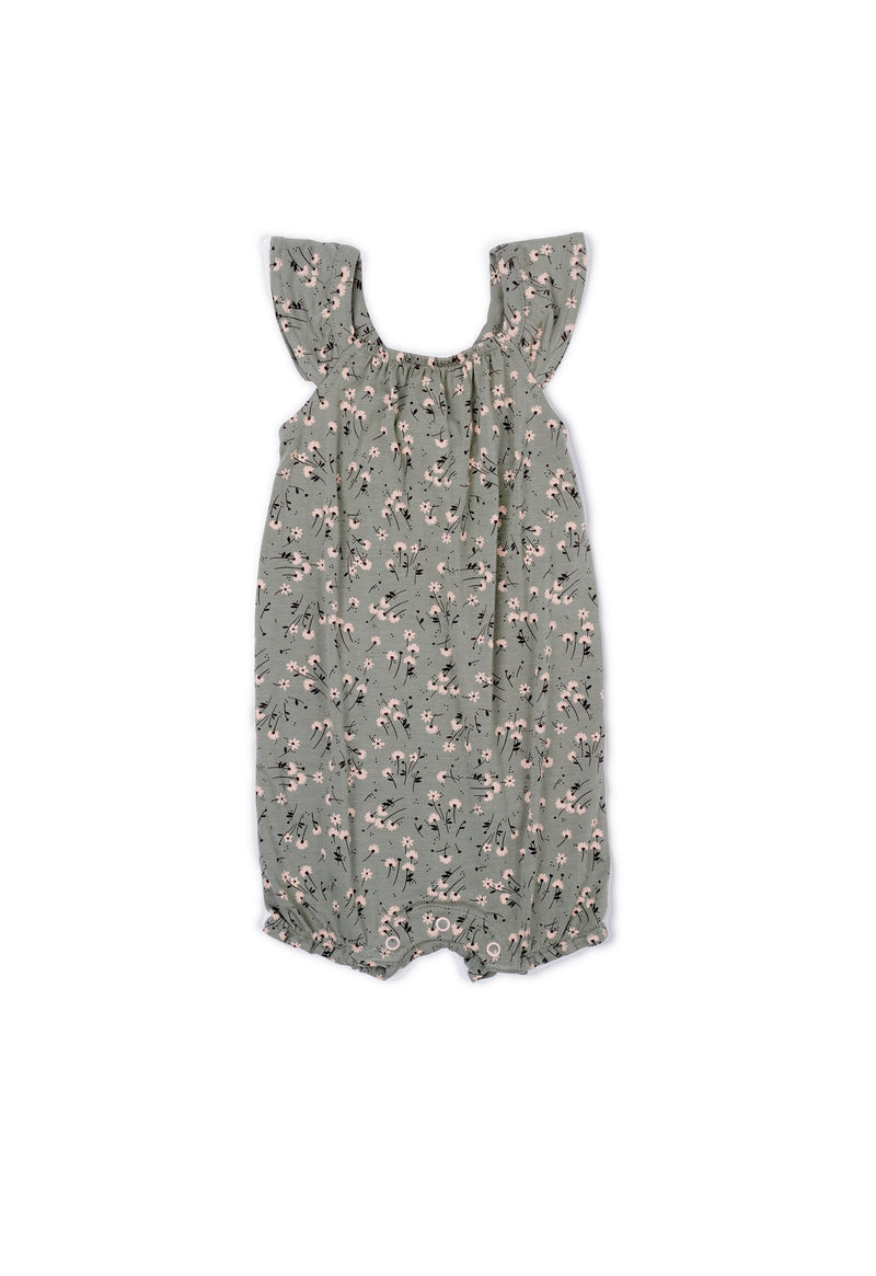 Gen Woo Baby Girl Green Ditsy Print Sleeveless Romper Fits Sizes 0 Months to 36 Months for The Jersey Shop Singapore
