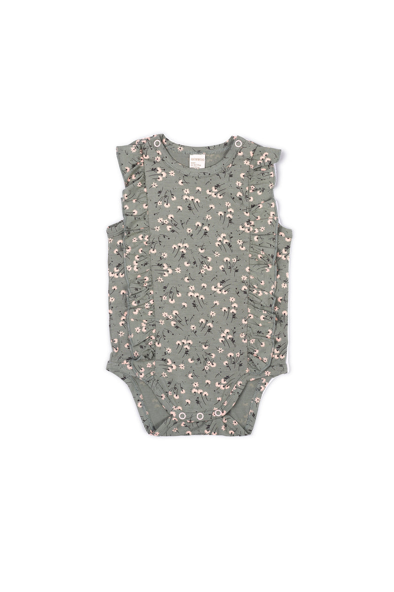 Gen Woo Baby Girl Green Ditsy Print Flutter Baby-grow Fits Sizes 0 Months to 36 Months from The Jersey Shop Singapore