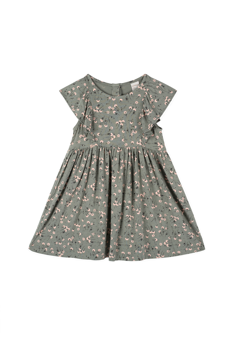 Gen Woo Baby Girls Green Ditsy Print A-line Dress for The Jersey Shop Singapore
