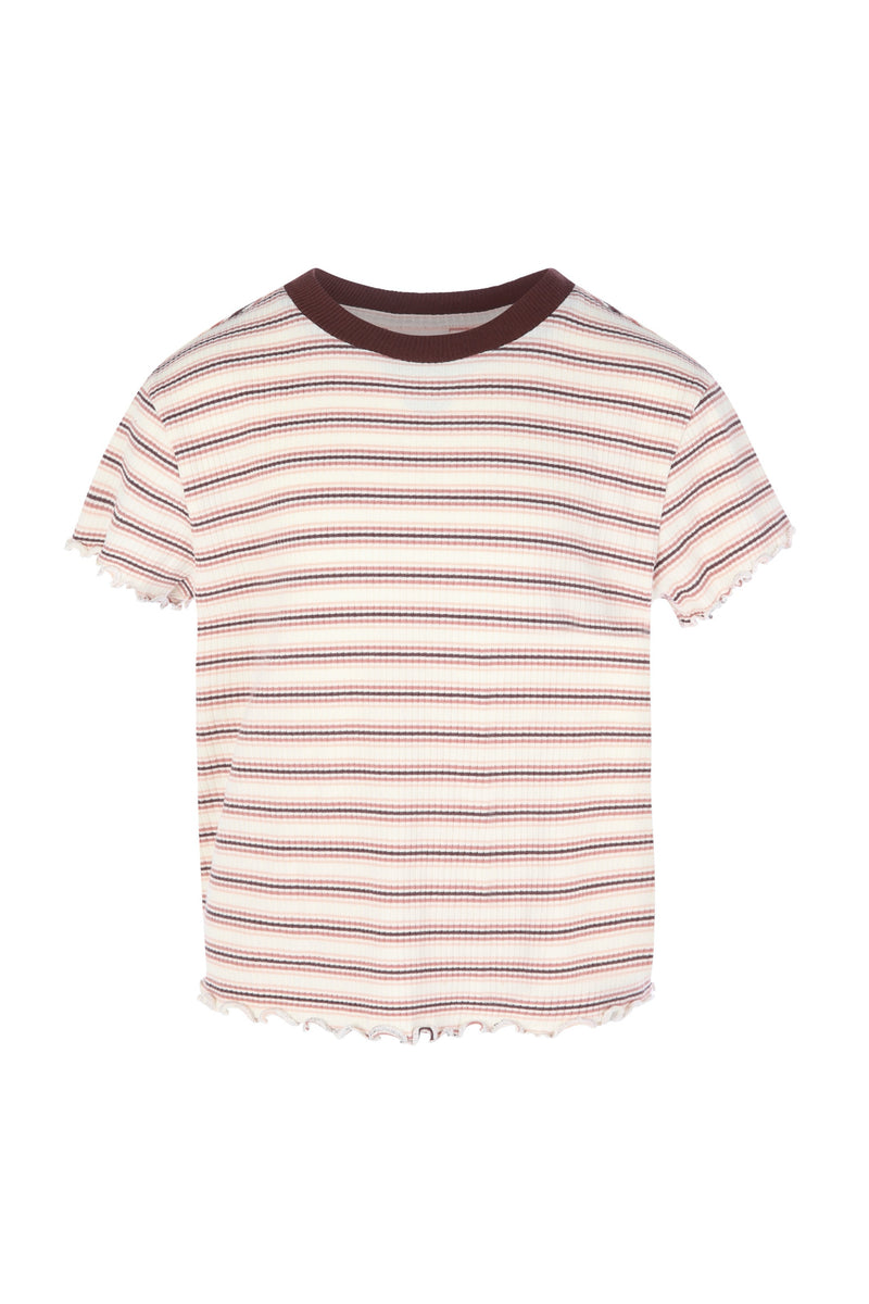 Striped Rib-knit T-shirt