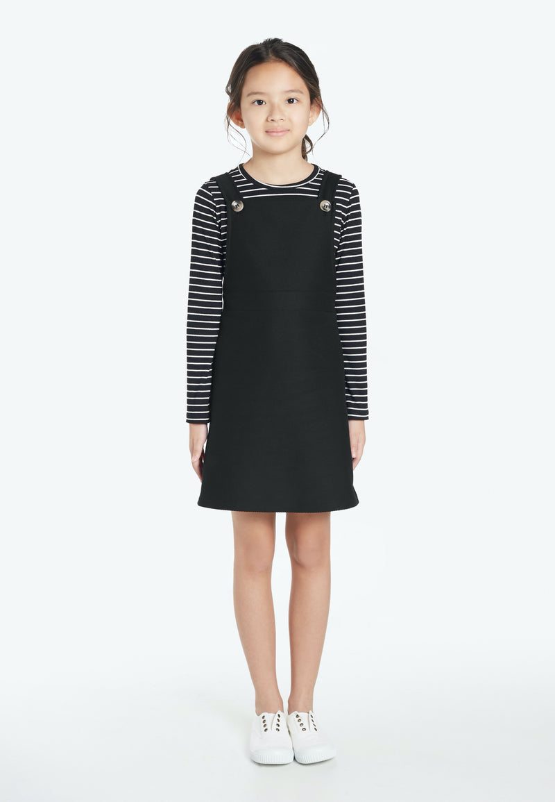 Gen Woo Tween Girls Balck Twill Pinafore from The Jersey Shop Singapore