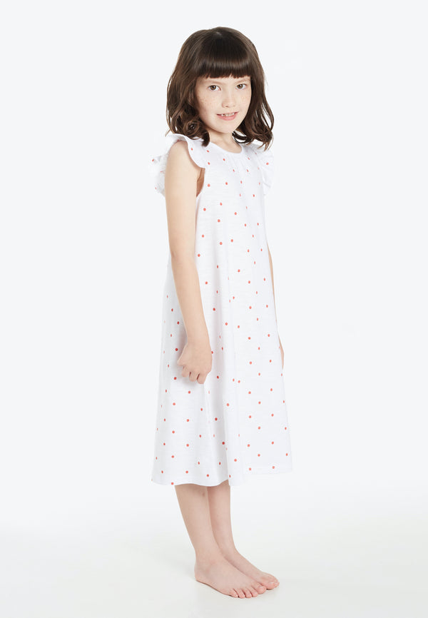 Gen Woo Nightwear Girls White with Red Polka Dot Nightdress from The Jersey Shop Singapore