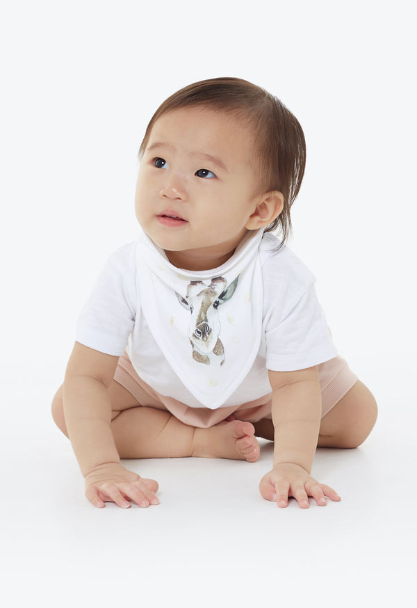 Gen Woo Baby White Giraffe Triangle Bib from The Jersey Shop Singapore