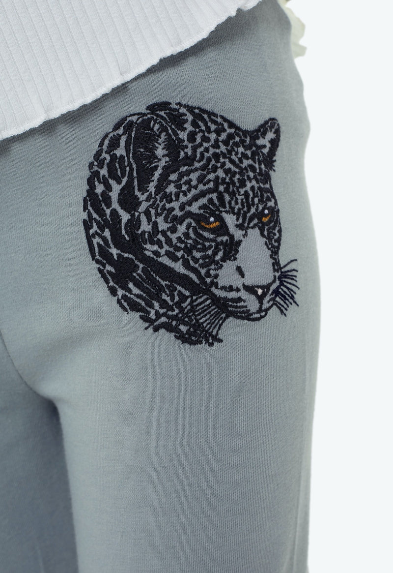 Gen Woo girls Grey Embroidered Leopard Legging from The Jersey Shop Singapore
