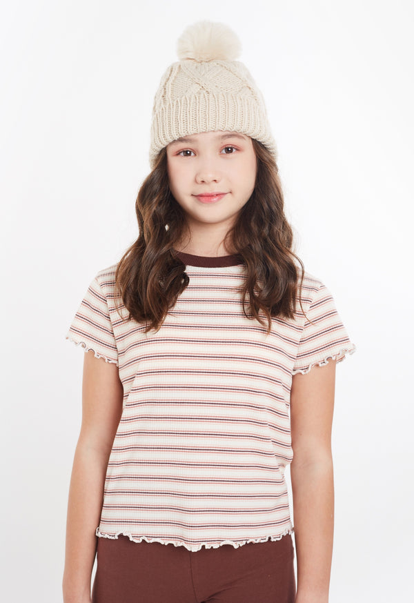 Gen Woo Tween Girls Stripe Cropped T-shirt from The Jersey Shop Singapore