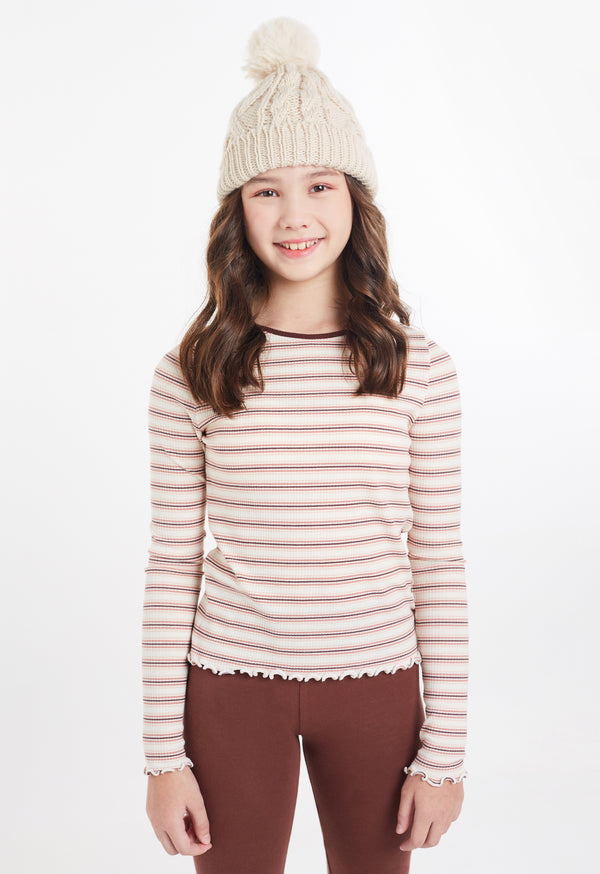 Gen Woo Tween Girls Stripe Ribbed Long Sleeves T-shirt from The Jersey Shop Singapore