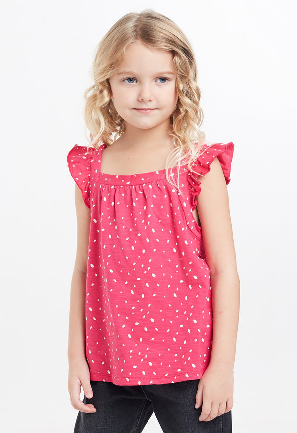 Gen Woo Girls Fuchsia Polka Dot Print Flutter Vest for The Jersey Shop Singapore