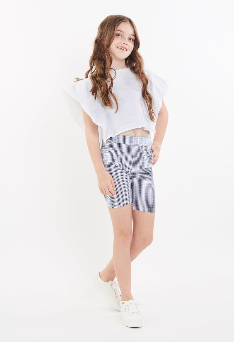 Gen Woo Tween Girls Blue Check Print Cycle Shorts for The Jersey Shop Singapore