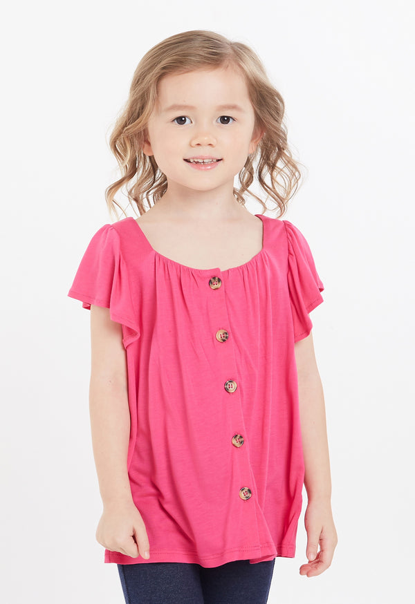Gen Woo Girls Fuchsia Flutter Placket Top for The Jersey Shop Singapore